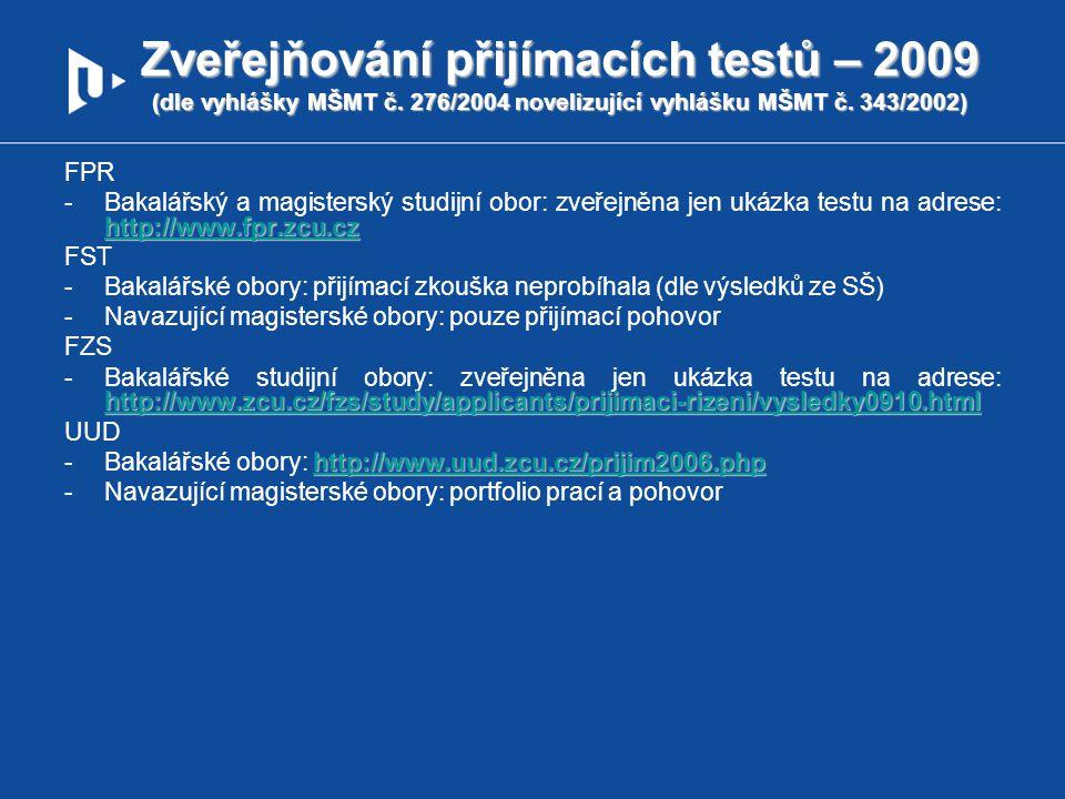Zveřejňování přijímacích testů – 2009 (dle vyhlášky MŠMT č