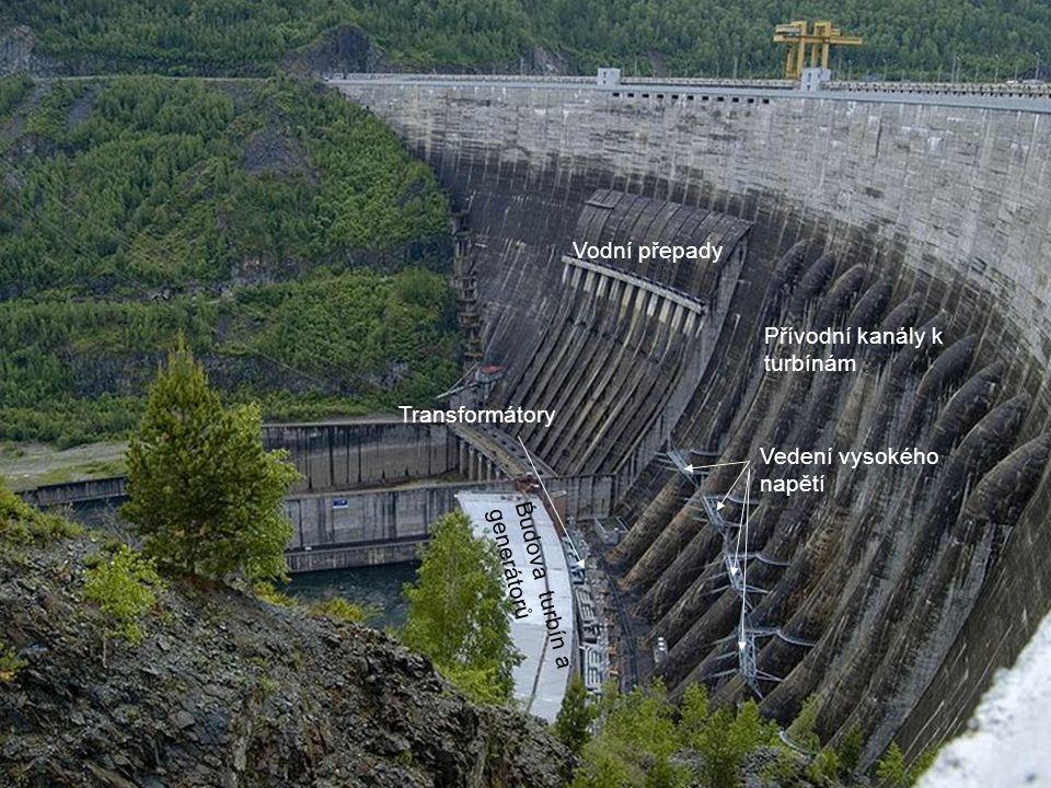 Vodní přepady Přívodní kanály k turbínám. Transformátory.