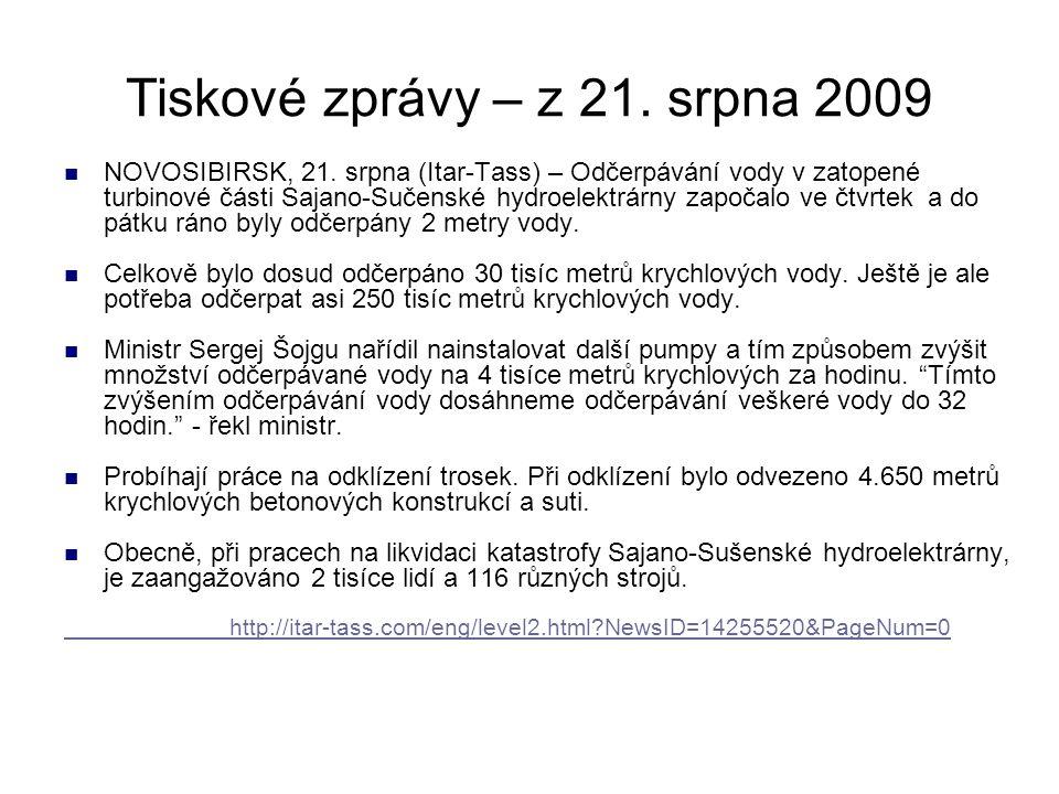 Tiskové zprávy – z 21. srpna 2009