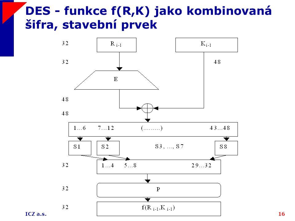 DES - funkce f(R,K) jako kombinovaná šifra, stavební prvek