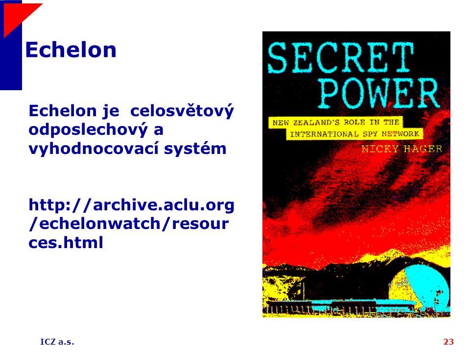 Echelon Echelon je celosvětový odposlechový a vyhodnocovací systém http://archive.aclu.org/echelonwatch/resources.html.