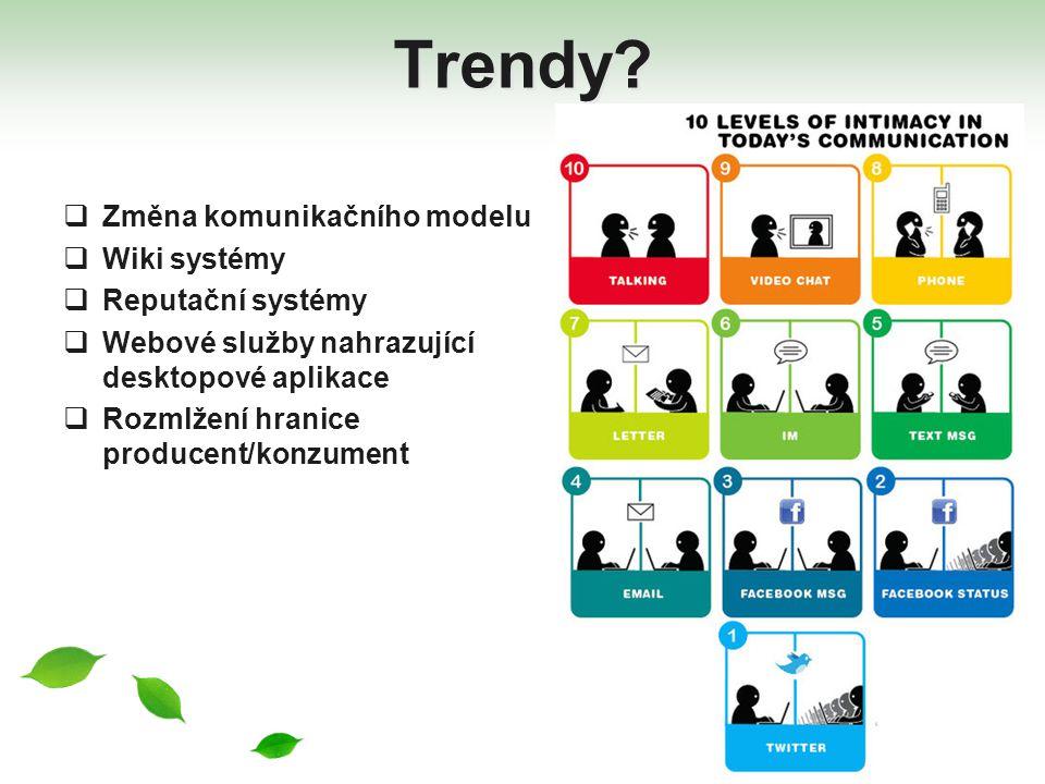 Trendy Změna komunikačního modelu Wiki systémy Reputační systémy