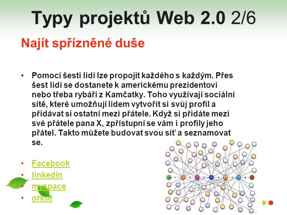 Typy projektů Web 2.0 2/6 Najít spřízněné duše
