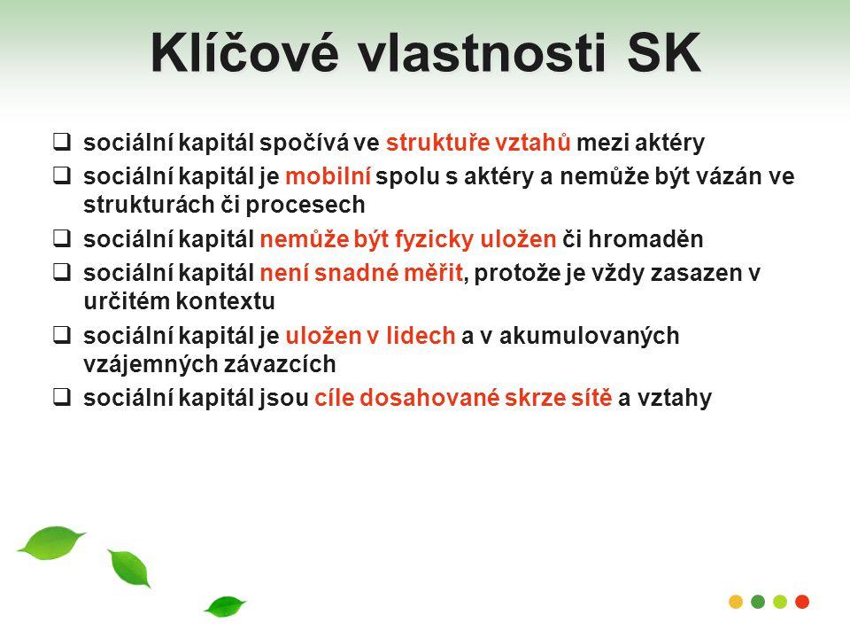 Klíčové vlastnosti SK sociální kapitál spočívá ve struktuře vztahů mezi aktéry.