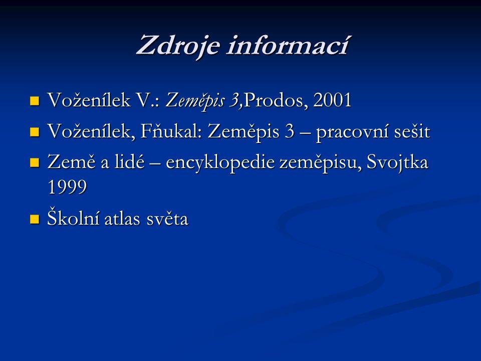 Zdroje informací Voženílek V.: Zeměpis 3,Prodos, 2001