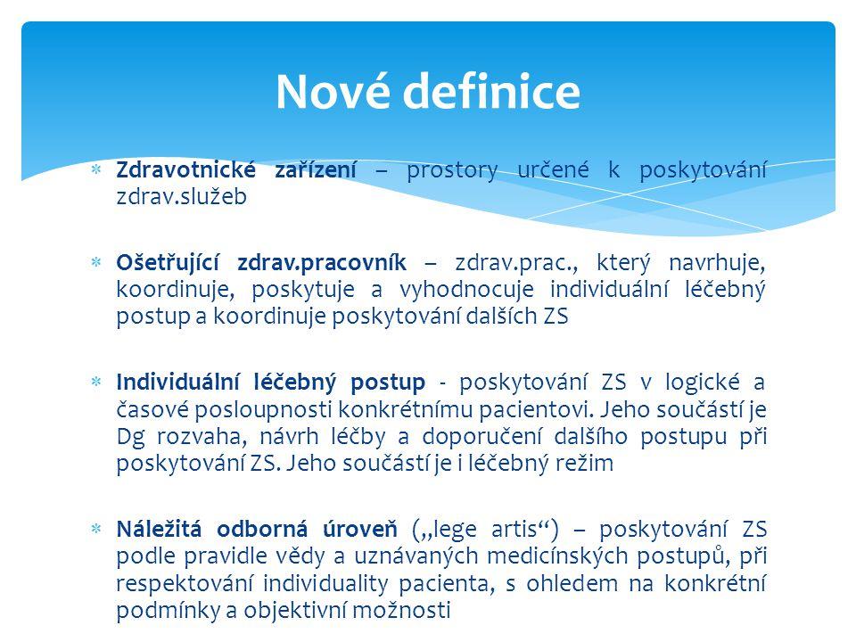 Nové definice Zdravotnické zařízení – prostory určené k poskytování zdrav.služeb.