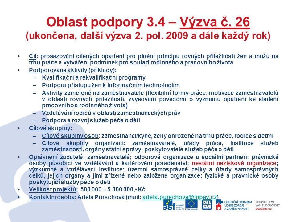 Oblast podpory 3. 4 – Výzva č. 26 (ukončena, další výzva 2. pol
