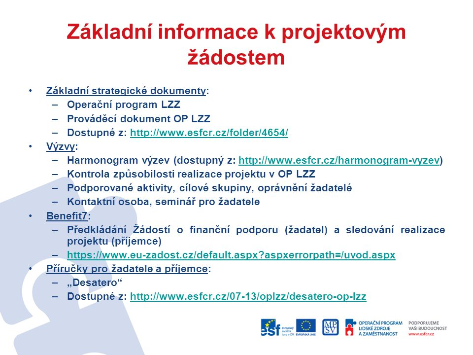 Základní informace k projektovým žádostem