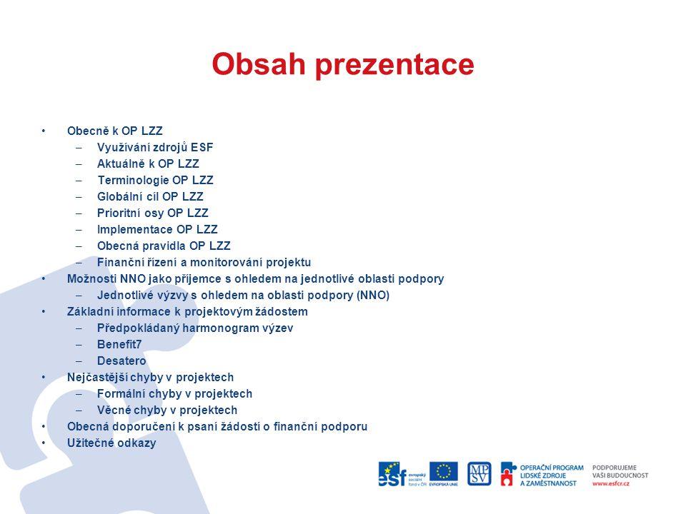 Obsah prezentace Obecně k OP LZZ Využívání zdrojů ESF