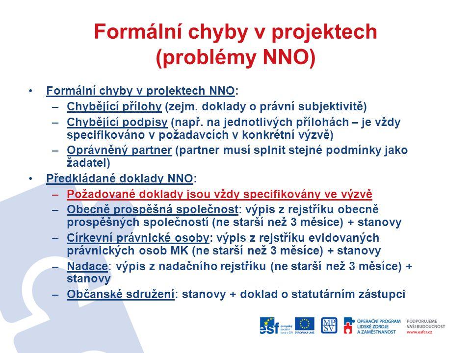 Formální chyby v projektech (problémy NNO)