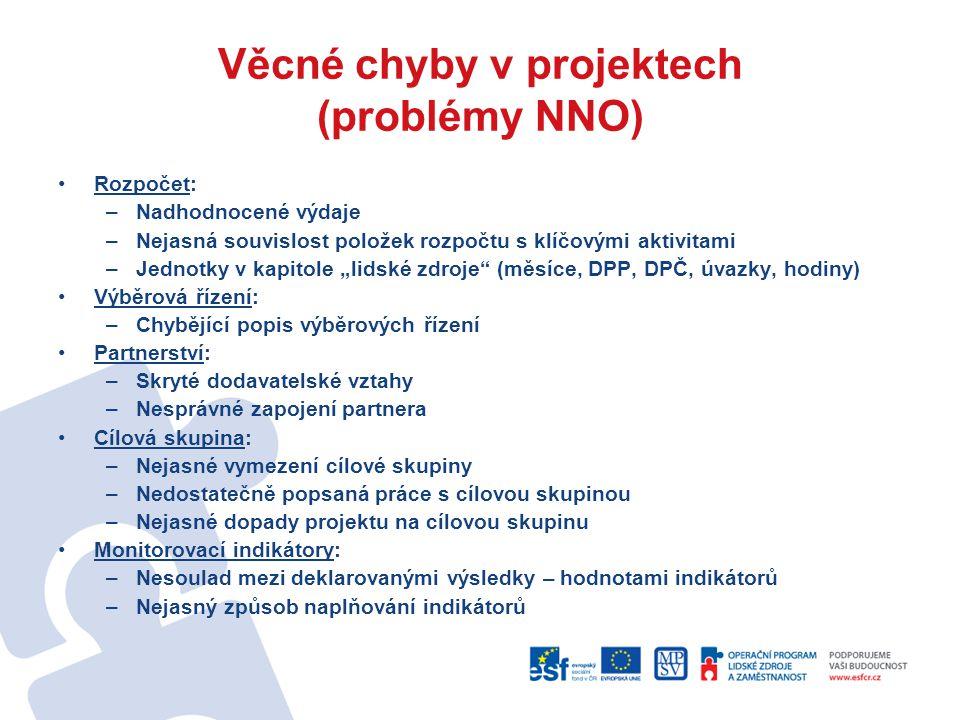 Věcné chyby v projektech (problémy NNO)