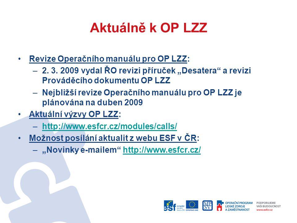 Aktuálně k OP LZZ Revize Operačního manuálu pro OP LZZ: