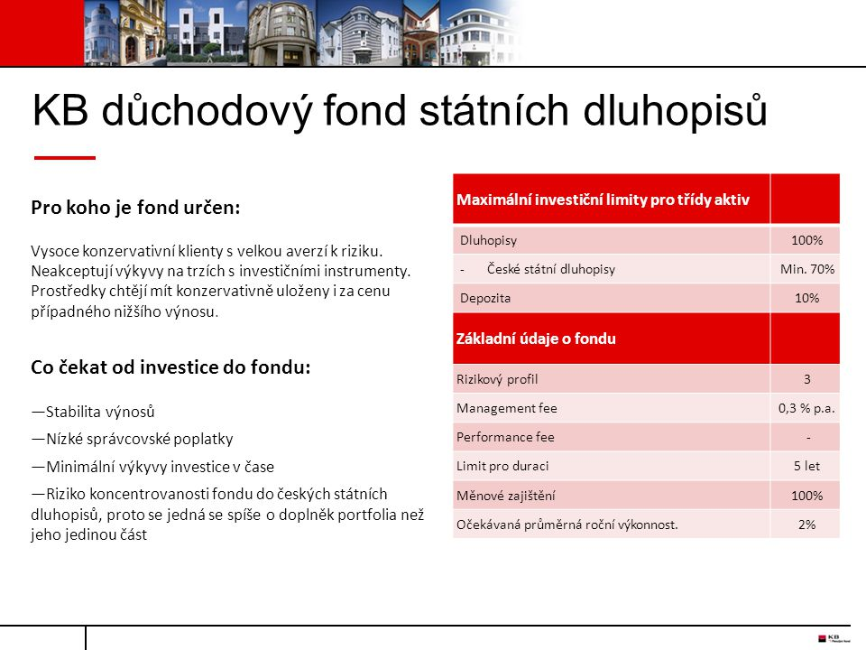 KB důchodový fond státních dluhopisů