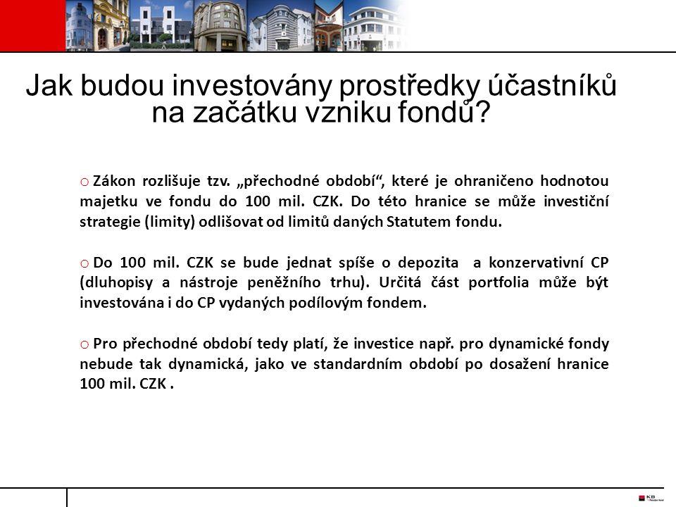 Jak budou investovány prostředky účastníků na začátku vzniku fondů