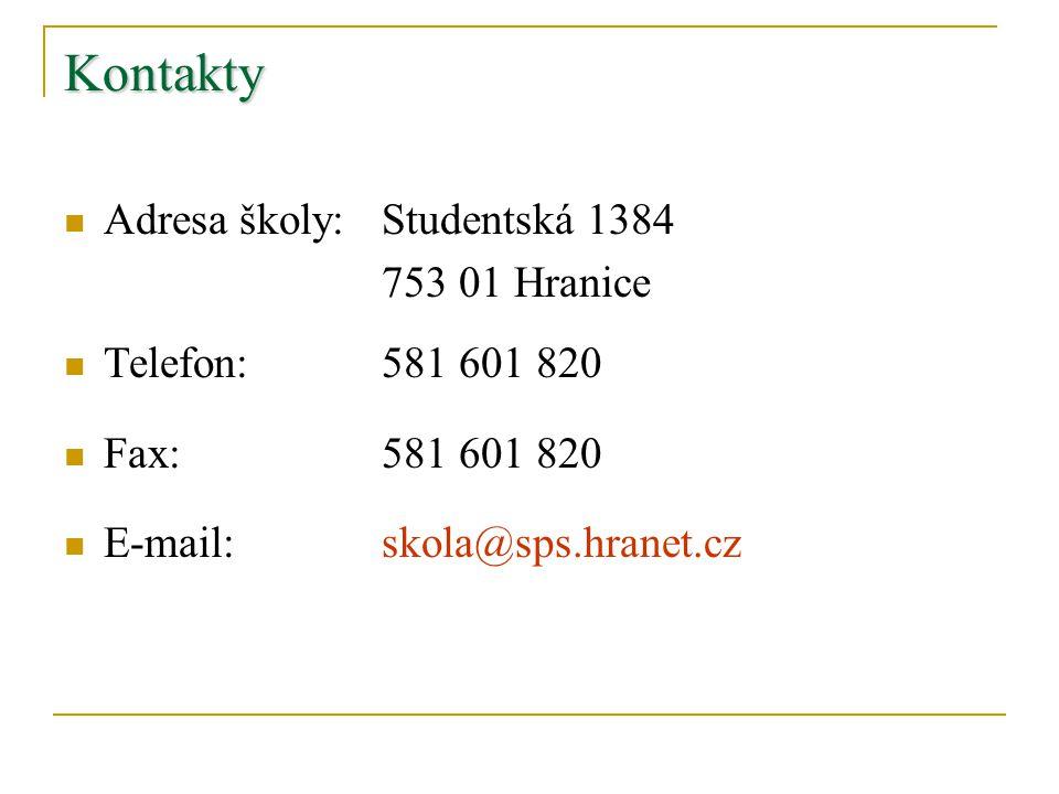 Kontakty Adresa školy: Studentská 1384 753 01 Hranice