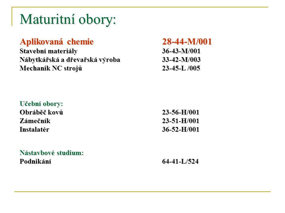 Maturitní obory: Aplikovaná chemie. 28-44-M/001 Stavební materiály