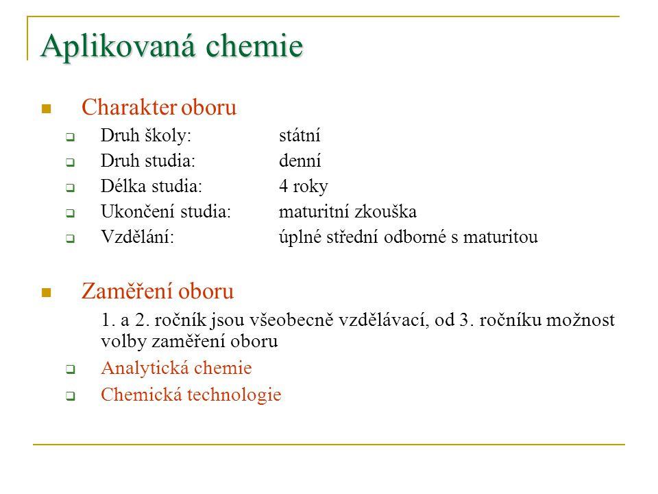 Aplikovaná chemie Charakter oboru Zaměření oboru