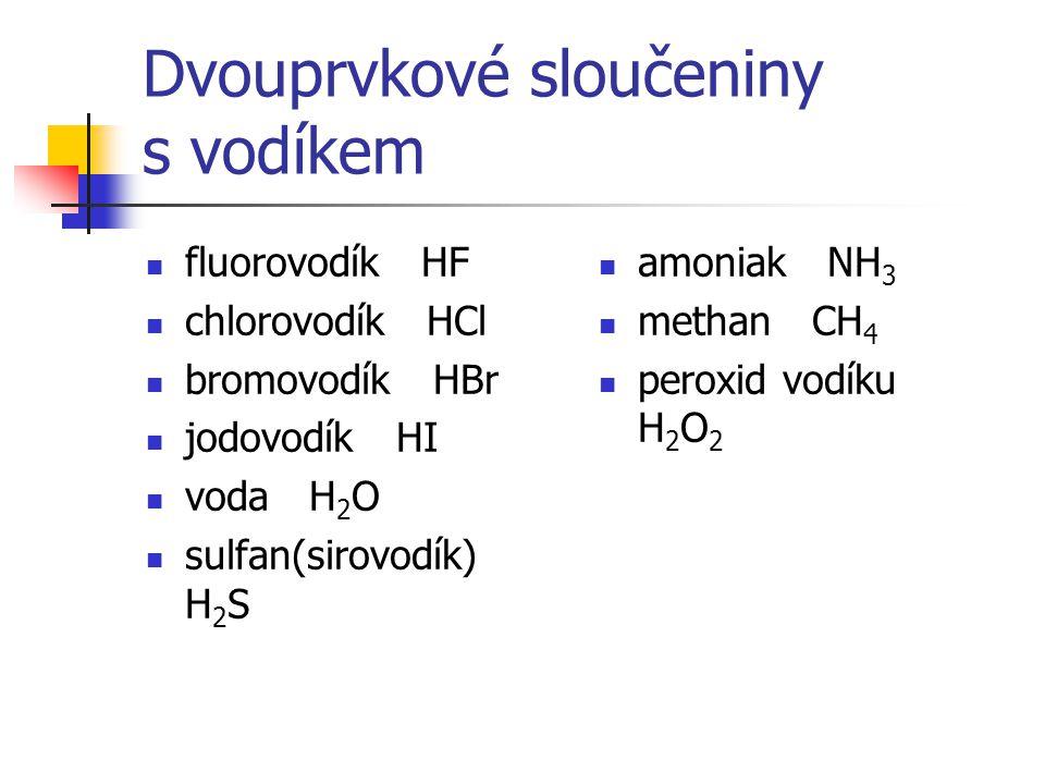 Dvouprvkové sloučeniny s vodíkem