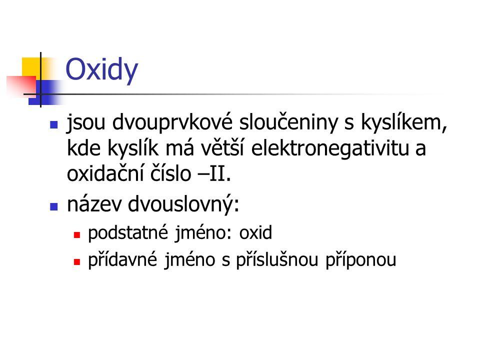 Oxidy jsou dvouprvkové sloučeniny s kyslíkem, kde kyslík má větší elektronegativitu a oxidační číslo –II.