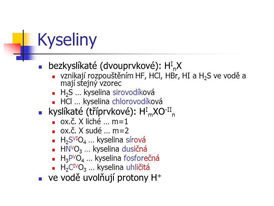 Kyseliny bezkyslíkaté (dvouprvkové): HInX