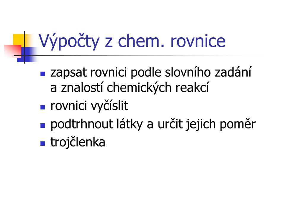 Výpočty z chem. rovnice zapsat rovnici podle slovního zadání a znalostí chemických reakcí. rovnici vyčíslit.