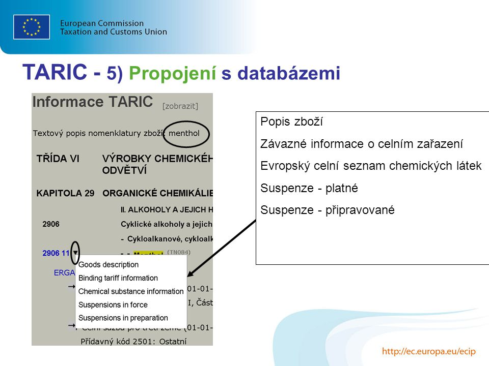 TARIC - 5) Propojení s databázemi