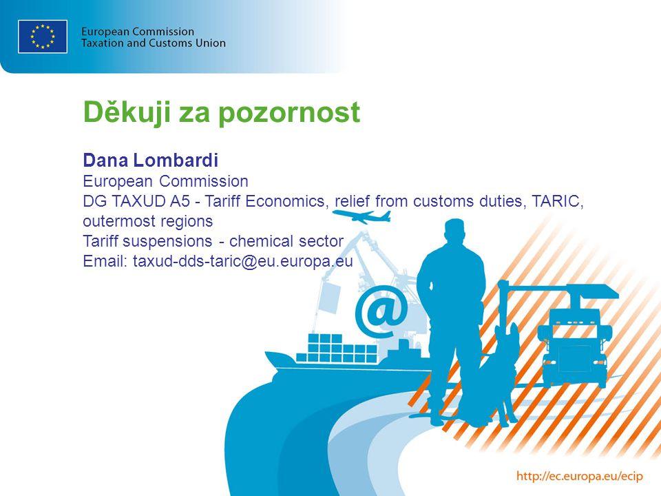 Děkuji za pozornost Dana Lombardi European Commission