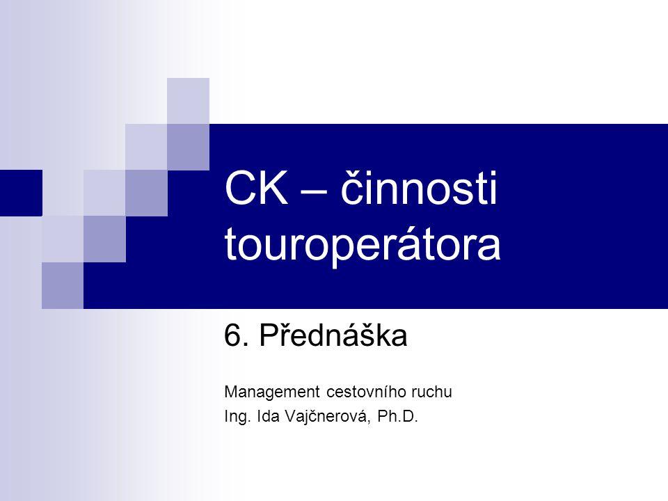CK – činnosti touroperátora