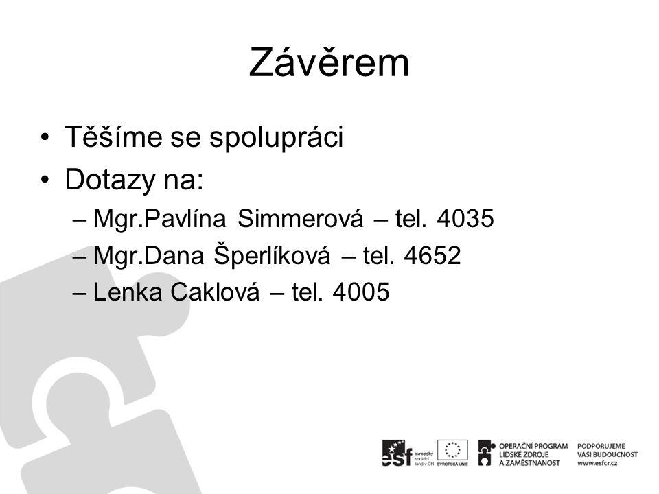 Závěrem Těšíme se spolupráci Dotazy na: