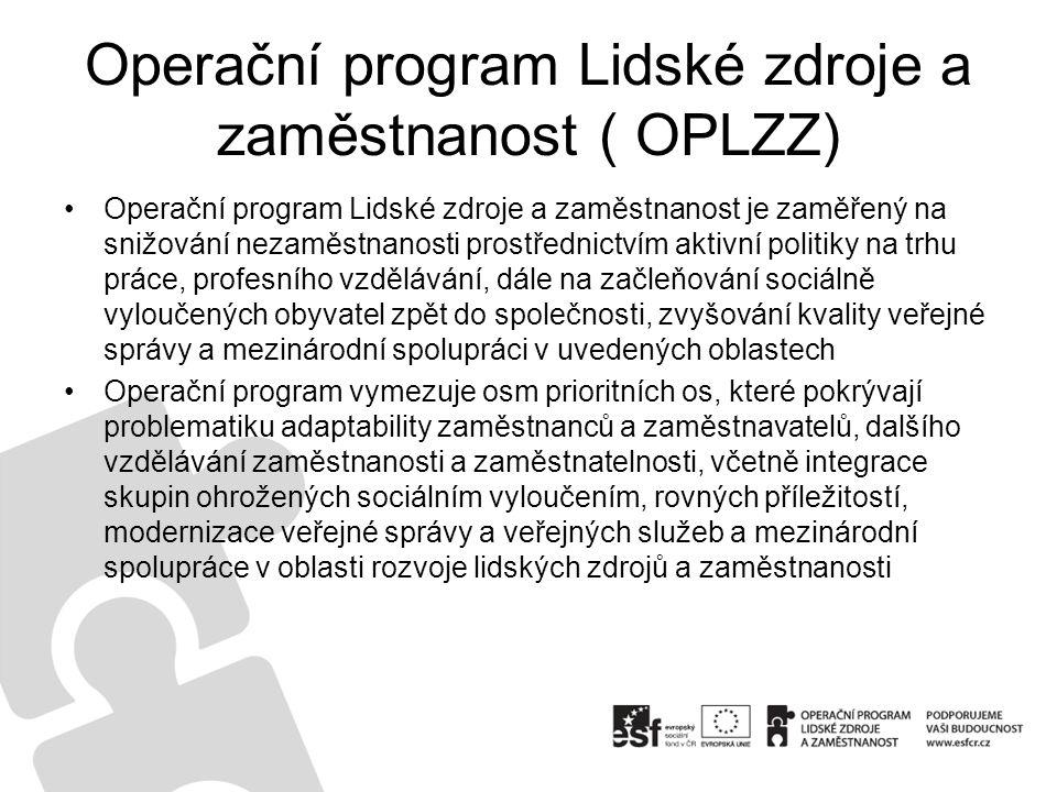 Operační program Lidské zdroje a zaměstnanost ( OPLZZ)