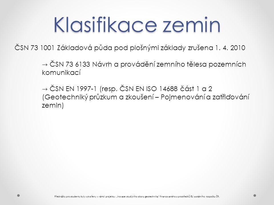 Klasifikace zemin ČSN 73 1001 Základová půda pod plošnými základy zrušena 1. 4. 2010.