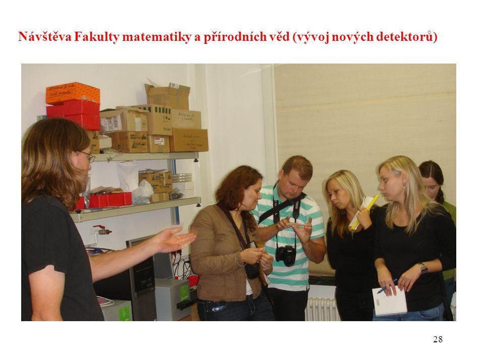 Návštěva Fakulty matematiky a přírodních věd (vývoj nových detektorů)