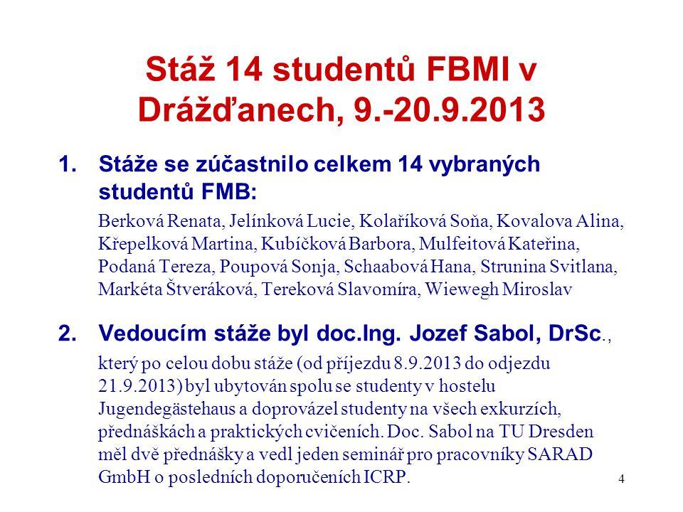 Stáž 14 studentů FBMI v Drážďanech, 9.-20.9.2013