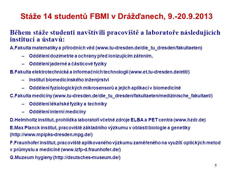 Stáže 14 studentů FBMI v Drážďanech, 9.-20.9.2013