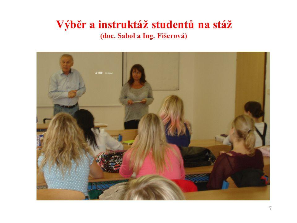 Výběr a instruktáž studentů na stáž (doc. Sabol a Ing. Fišerová)