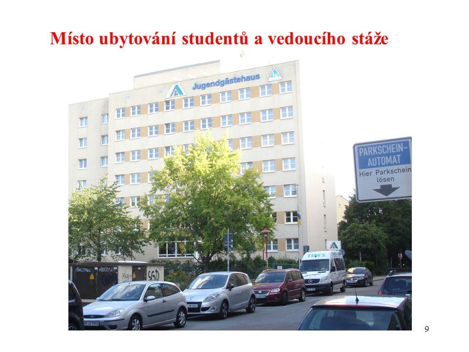 Místo ubytování studentů a vedoucího stáže