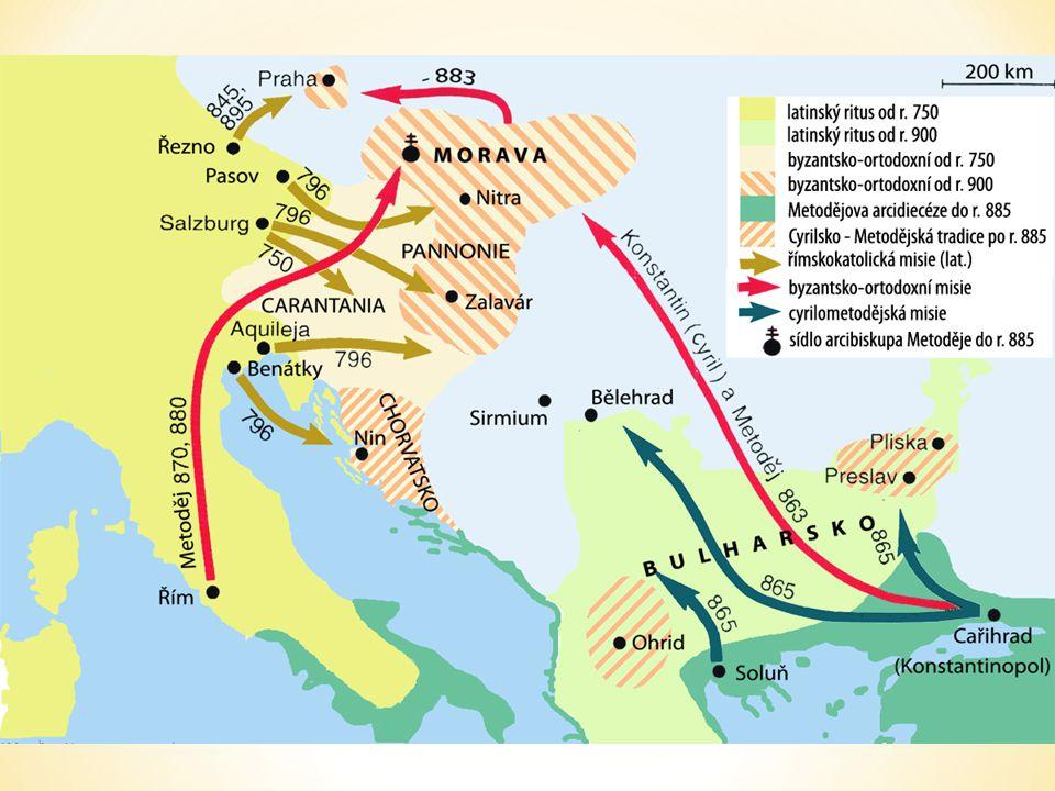 Misie bratří Konstantina a Metoděje nebyla první křesťanskou misií na území Velké Moravy, jak ukazuje mapka. Pravděpodobně již kníže Mojmír nechal pokřtít Moravany okolo roku 830. Žádost knížete Rastislava byzantskému císaři o biskupa a učitele, který by zpracoval jeho zemi i křesťanské zákony, bylo motivováno nejen šířením křesťanské víry, ale i politicky. Přesto byla misie obou bratří velmi úspěšná, neboť brala mimořádným způsobem ohled na místní kulturu a očekávala od Slovanů, že také oni obohatí svými dary univerzální církev. Pro Konstantina a Metoděje měli Slované a jejich řeč stejnou hodnotu, jako kulturně vyspělejší národy Evropy.