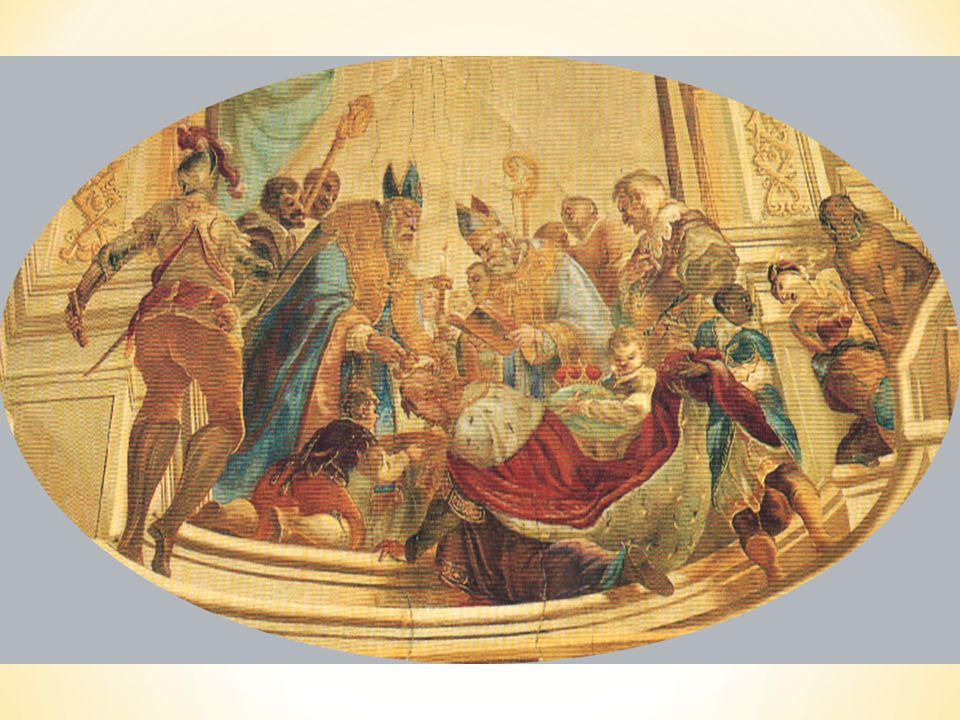Na stropě baziliky poblíž kazatelny vidíme fresku znázorňující křest krále Svatopluka, synovce knížete Rastislava.