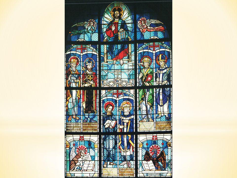 Na druhé barevné vitráži najdeme světce byzantského obřadu působící ve slovanských zemích: dole uprostřed je sv. Cyril a Metoděj.