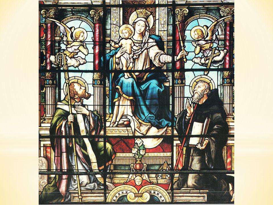 Na této vitráži sv. Cyril a Metoděj uctívají Pannu Marii
