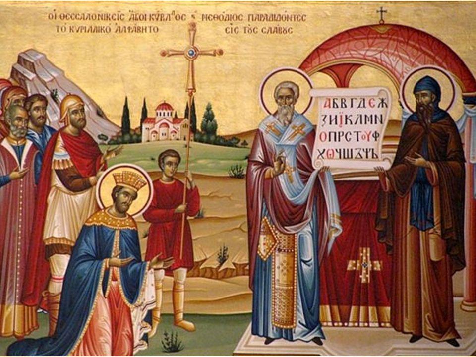 """Přišli na pozvání velkomoravského knížete Rastislava, který podle legendy napsal byzanstkému císaři Michalovi: """"Ač naši lidé odvrhli pohanství a drží se křesťanského zákona, nemáme takového učitele, který by nám vyložil v našem jazyku pravou křesťanskou víru, aby i jiné země, pozorujíc to, nás napodobily."""