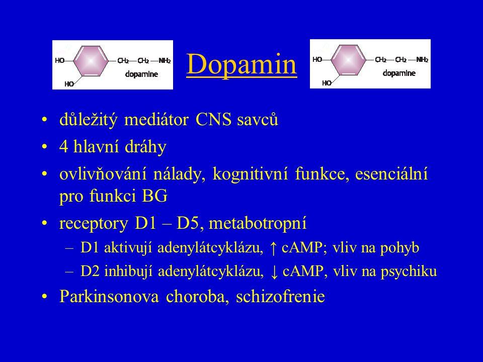 Dopamin důležitý mediátor CNS savců 4 hlavní dráhy