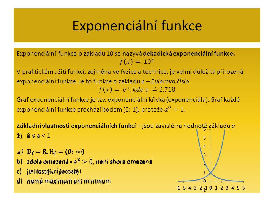Exponenciální funkce Exponenciální funkce o základu 10 se nazývá dekadická exponenciální funkce. 𝑓 𝑥 = 10 𝑥.