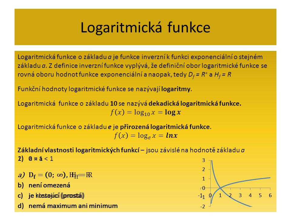 Logaritmická funkce Logaritmická funkce o základu a je funkce inverzní k funkci exponenciální o stejném.