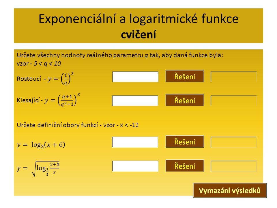 Exponenciální a logaritmické funkce cvičení