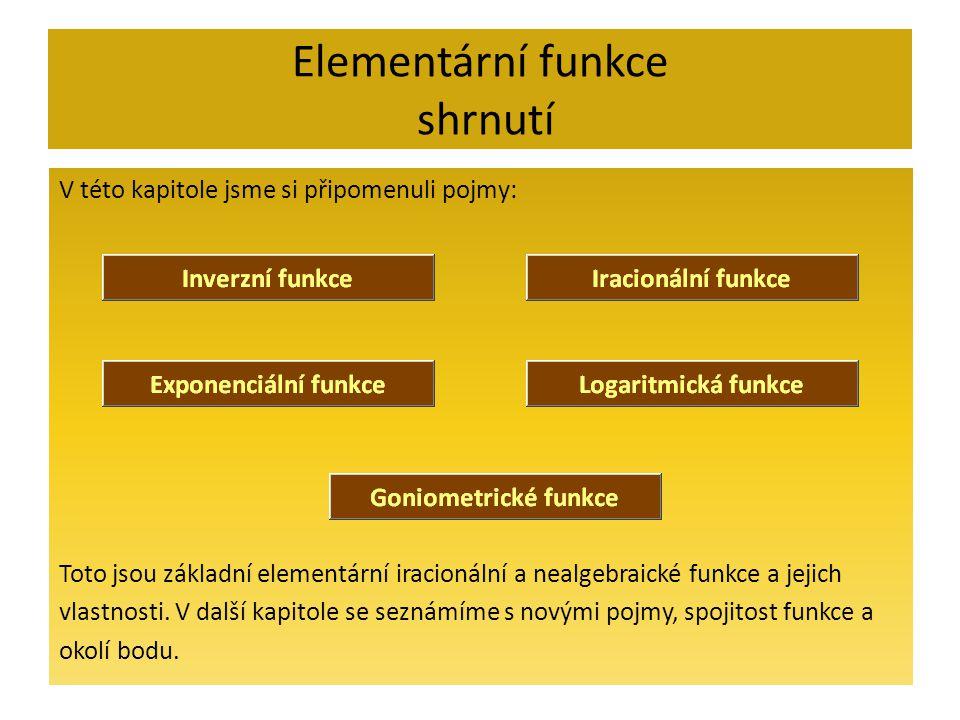 Elementární funkce shrnutí