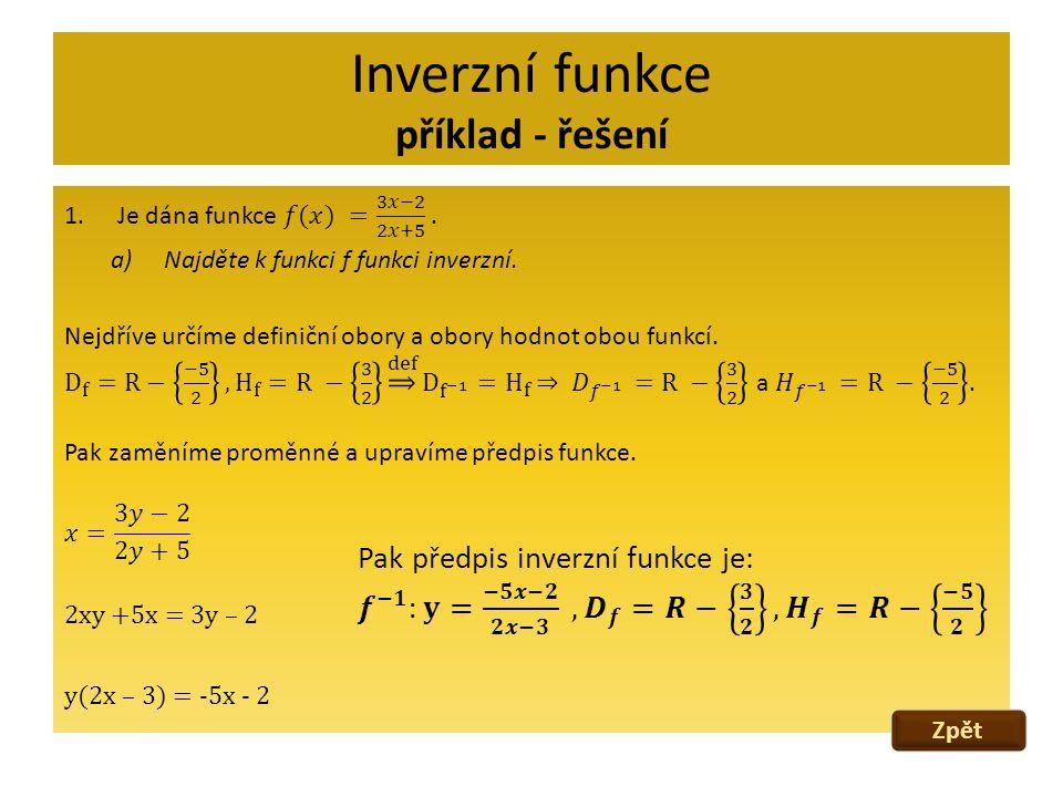 Inverzní funkce příklad - řešení