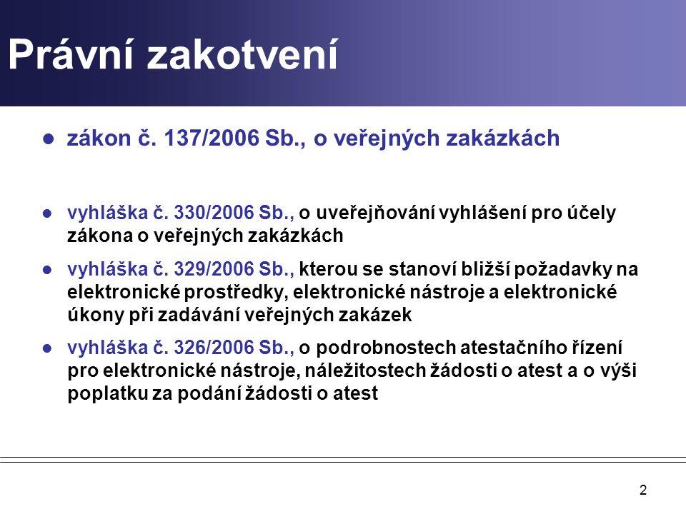 Právní zakotvení zákon č. 137/2006 Sb., o veřejných zakázkách