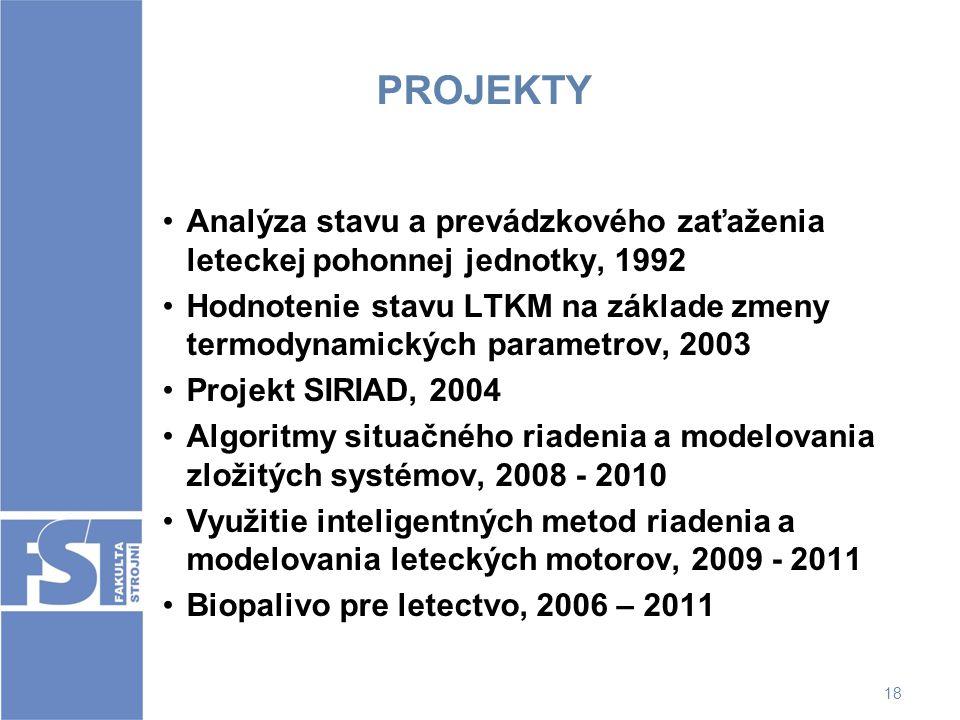 PROJEKTY Analýza stavu a prevádzkového zaťaženia leteckej pohonnej jednotky, 1992.