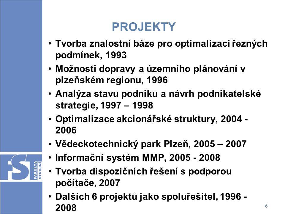 PROJEKTY Tvorba znalostní báze pro optimalizaci řezných podmínek, 1993